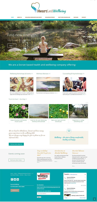Heartled Wellbeing website homepage