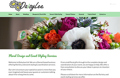Daisy Lee Florist website homepage