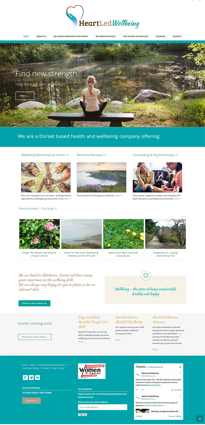 Heartled Wellbeing website homepage