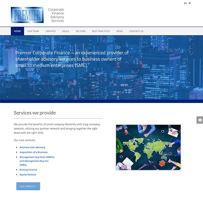 Premier Corporate Finance homepage
