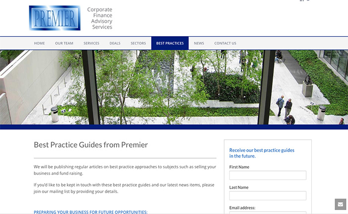 screenshot from Premier Corporate Finance website