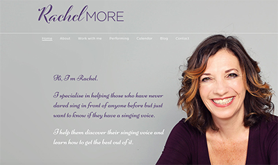 screenshot of Rachel More website