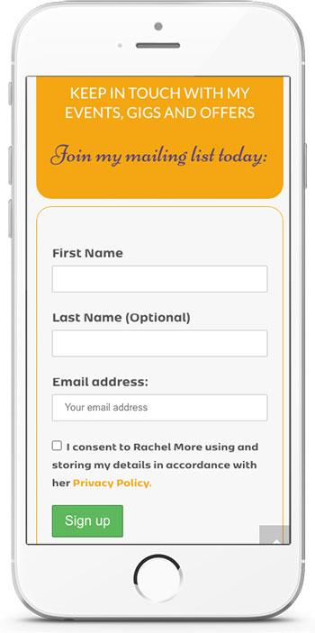 Rachel More website signup form